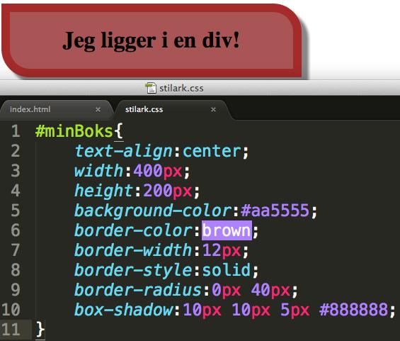 Her er utseende til nettsiden bestemt av kodene i stilarket